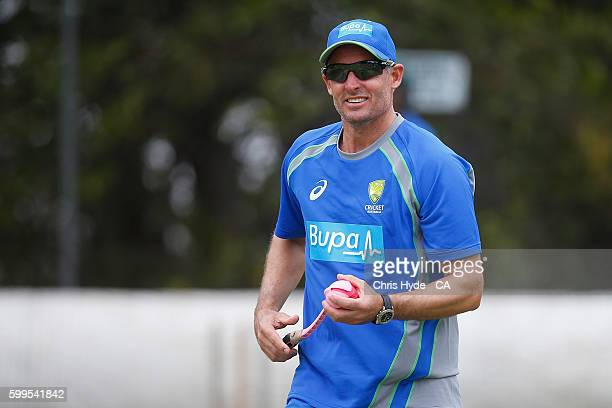 Assistant coach Michael Hussey during an Australia A training session at Allan Border Field on September 6 2016 in Brisbane Australia