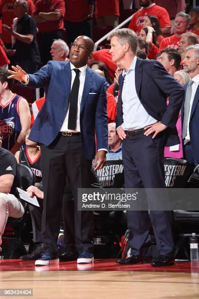 Assistant Coach Mike Brown and Head Coach Steve Kerr of the Golden State Warriors during Game Seven of the Western Conference Finals of the 2018 NBA...