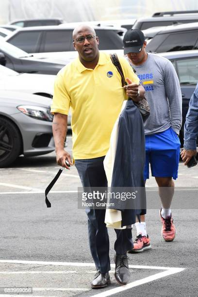 Assistant coach Mike Brown of the Golden State Warriors arrives to the arena before the game against the San Antonio Spurs during Game Two of the...