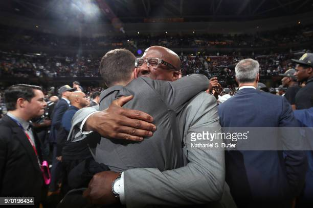 Assistant coach Mike Brown of the Golden State Warriors celebrates after Game Four of the 2018 NBA Finals against the Cleveland Cavaliers on June 8,...