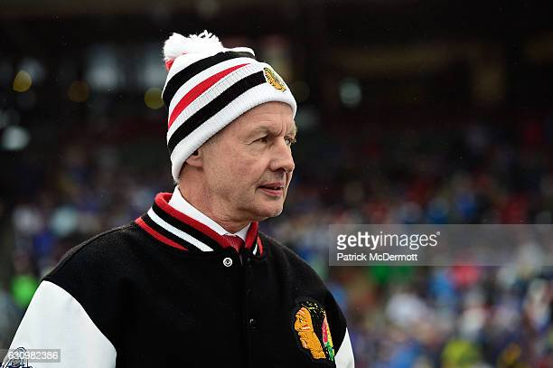 Assistant Coach Mike Kitchen of the Chicago Blackhawks looks on during the 2017 Bridgestone NHL Winter Classic at Busch Stadium on January 2, 2017 in...