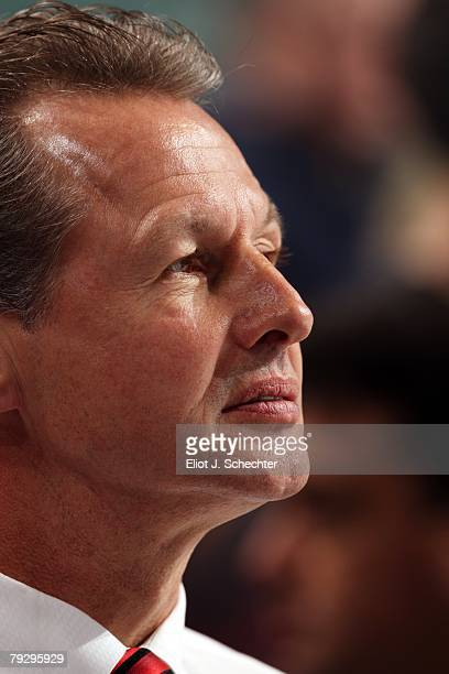 Assistant Coach Mike Kitchen of the Florida Panthers watches from the bench against the Edmonton Oilers at the Bank Atlantic Center on January 24,...