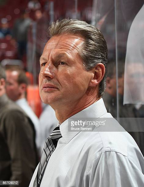 Assistant Coach Mike Kitchen of the Florida Panthers watches practice prior to his game against the Philadelphia Flyers on March 26, 2009 at the...