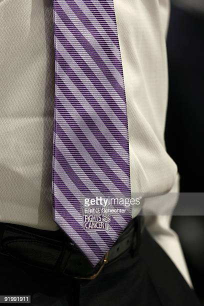 Assistant Coach Mike Kitchen of the Florida Panthers wears a tie in support off Hockey Fights Cancer during the game against the Philadelphia Flyers...