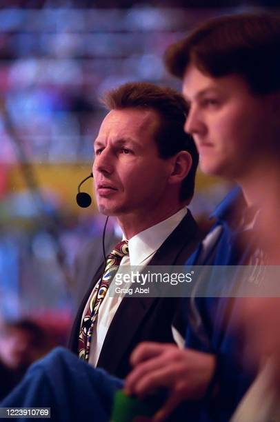 Assistant coach Mike Kitchen of the Toronto Maple Leafs watches the play against the Detroit Red Wings during NHL game action on February 15, 1994 at...