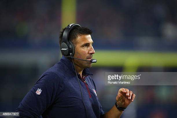 Assistant coach Mike Vrabel of the Houston Texans during a preseason game on September 3 2015 in Arlington Texas
