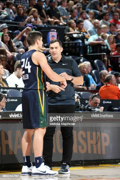 Assistant Coach Mike Wells speaks with Grayson Allen of the Utah Jazz during the 2018 Summer League at the Vivint Smart Home Arena on July 2 2018 in...