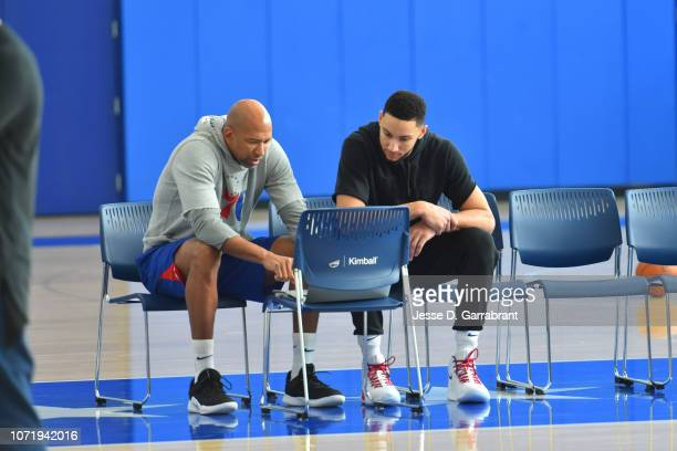 Assistant Coach Monty Williams and Ben Simmons of the Philadelphia 76ers look at film during a practice on December 11 2018 at The Philadelphia 76ers...