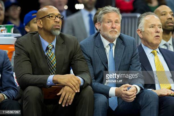 Assistant coach Monty Williams and head coach Brett Brown of the Philadelphia 76ers look on against the Brooklyn Nets in Game Five of Round One of...