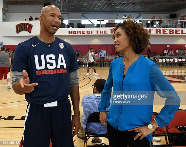 Assistant coach Monty Williams of the 2016 USA Basketball Men's National Team talks with sportscaster Sage Steele during a practice session at the...
