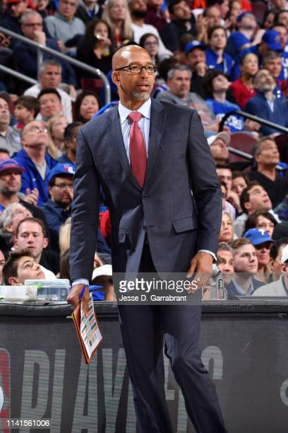 Assistant Coach Monty Williams of the Philadelphia 76ers looks on during a game against the Toronto Raptors during Game Four of the Eastern...