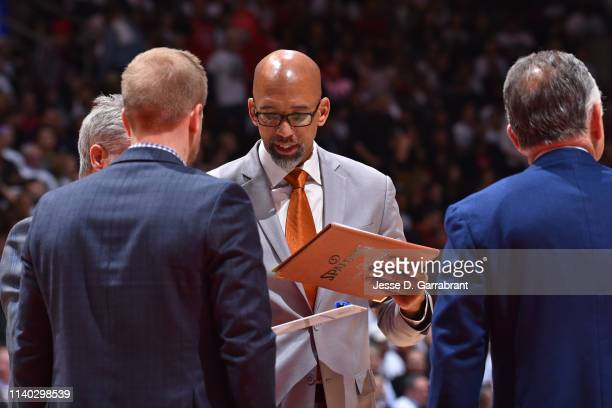 Assistant Coach Monty Williams of the Philadelphia 76ers looks on against the Toronto Raptors during Game Two of the Eastern Conference Semifinals of...