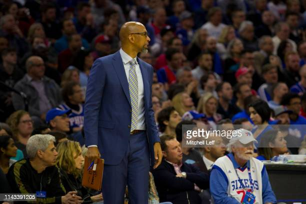 Assistant coach Monty Williams of the Philadelphia 76ers looks on against the Brooklyn Nets in Game Two of Round One of the 2019 NBA Playoffs at the...