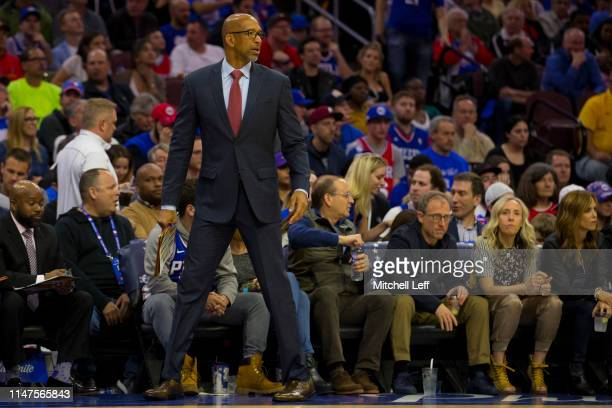 Assistant coach Monty Williams of the Philadelphia 76ers looks on against the Toronto Raptors in Game Four of the Eastern Conference Semifinals at...