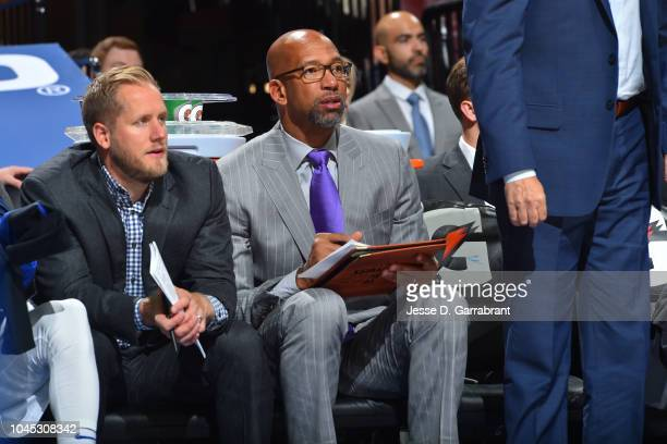 Assistant coach Monty Williams of the the Philadelphia 76ers looks on against the Orlando Magic during a preseason game on October 1 2018 at the...