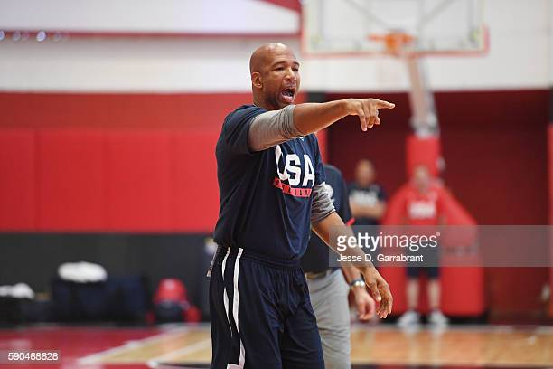 Assistant coach Monty Williams of the USA Basketball Men's National Team talks to his team at a practice during the Rio 2016 Olympic Games on August...