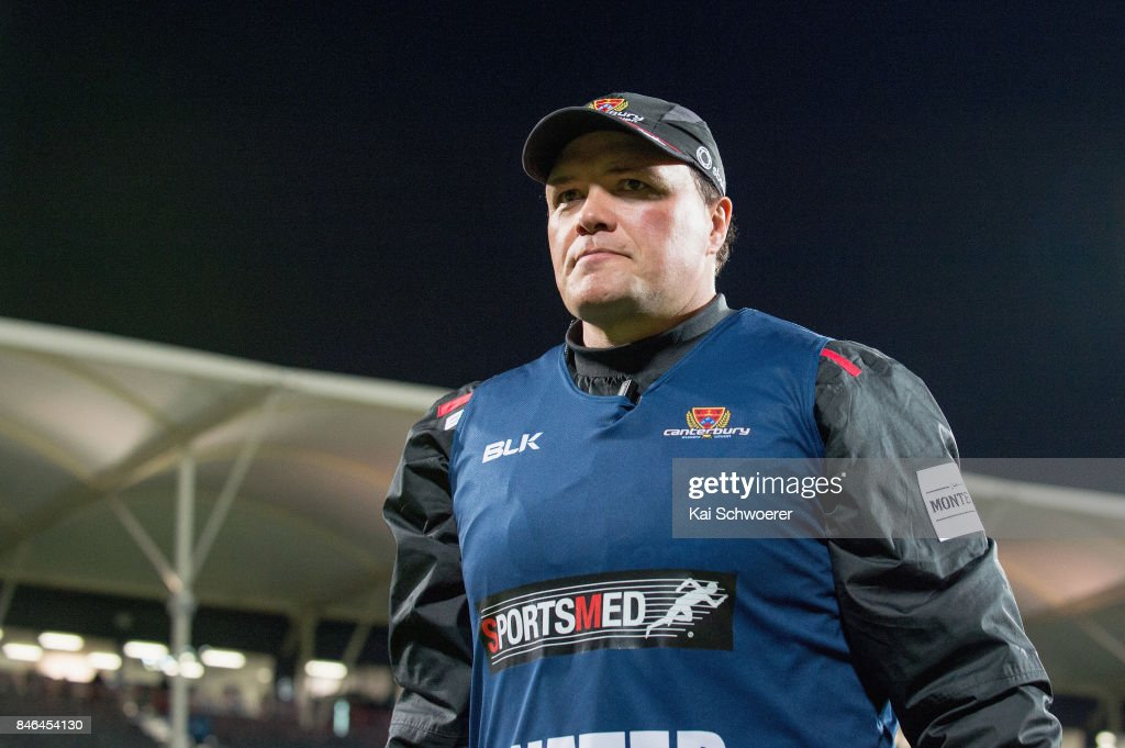 Assistant Coach Nathan Mauger of Canterbury looks on prior following the round five Mitre 10 Cup match between Canterbury and Counties Manukau on September 13, 2017 in Christchurch, New Zealand.