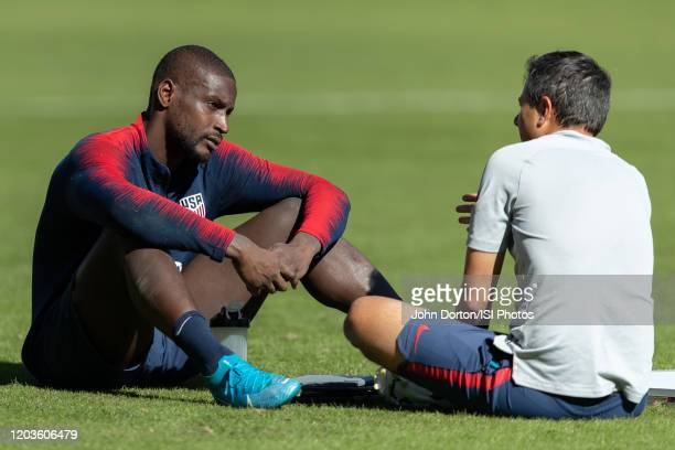Assistant Coach Nico Estevez speaks too Bill Hamid after training at Dignity Health Sports Park on January 31 2020 in Carson California