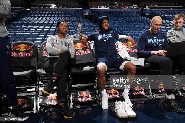 Assistant Coach Niele Ivey and Ja Morant of the Memphis Grizzlies looks on prior to a game against the New Orleans Pelicans on January 31 2020 at...