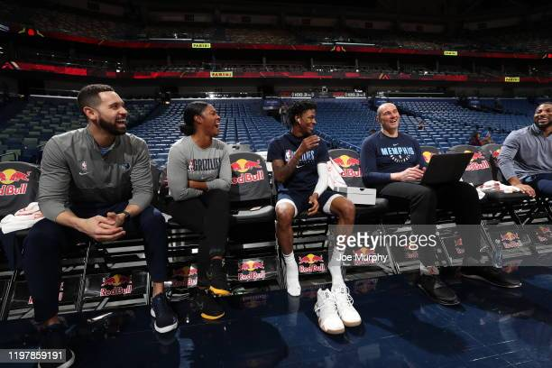 Assistant Coach Niele Ivey and Ja Morant of the Memphis Grizzlies smile prior to a game against the New Orleans Pelicans on January 31 2020 at...