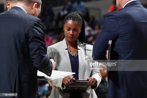 Assistant Coach Niele Ivey of the Memphis Grizzlies looks on during the game against the Minnesota Timberwolves on November 6 2019 at FedExForum in...