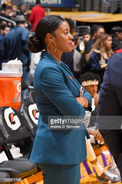 Assistant Coach Niele Ivey of the Memphis Grizzlies looks on during the game against the Los Angeles Lakers on February 21 2020 at STAPLES Center in...
