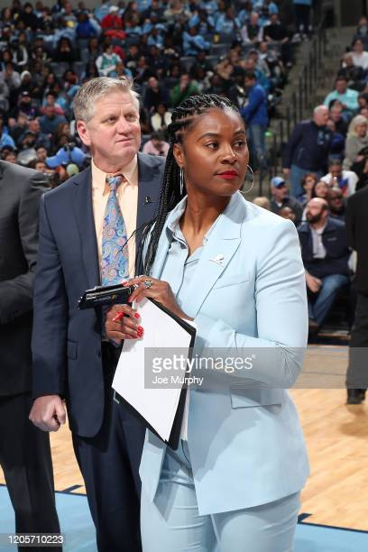 Assistant Coach Niele Ivey of the Memphis Grizzlies looks on during the game against the Atlanta Hawks on March 7 2020 at FedExForum in Memphis...