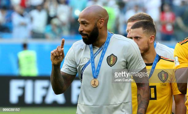 Assistant coach of Belgium Thierry Henry celebrates the victory after receiving the medal following the 2018 FIFA World Cup Russia 3rd Place Playoff...