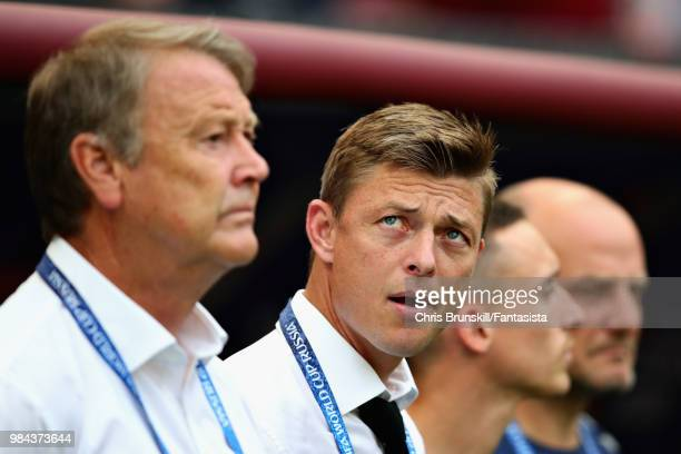 Assistant Coach of Denmark Jon Dahl Tomasson looks on before the 2018 FIFA World Cup Russia group C match between Denmark and France at Luzhniki...