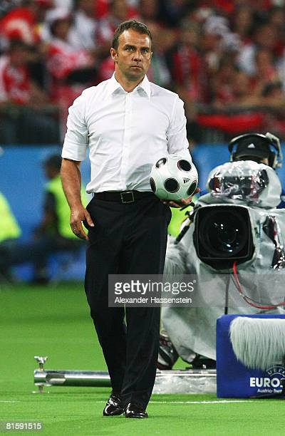 Assistant coach of Germany Hansi Flick looks on during the UEFA EURO 2008 Group B match between Austria and Germany at Ernst Happel Stadion on June...