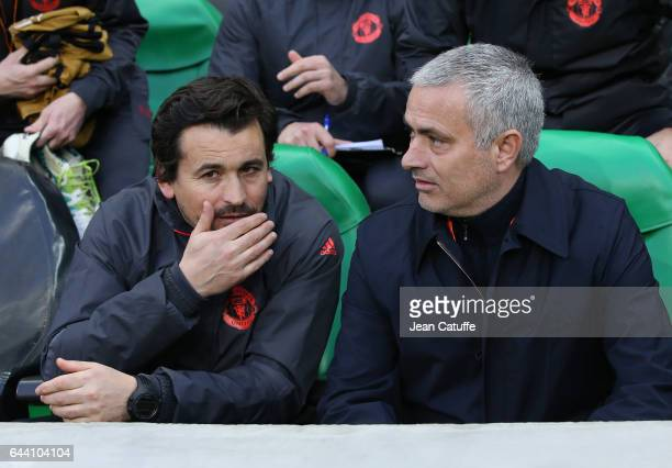 Assistant coach of Man U Rui Faria chats with coach of Manchester United Jose Mourinho before the UEFA Europa League Round of 32 second leg match...