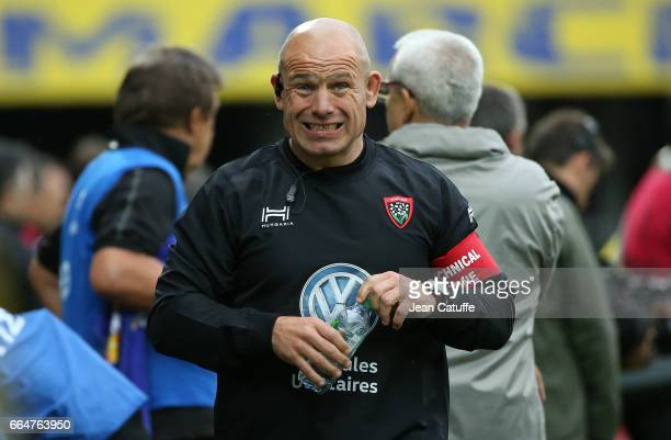 Assistant coach of RC Toulon Richard Cockerill reacts during the European Rugby Champions Cup quarter final match between ASM Clermont Auvergne and...