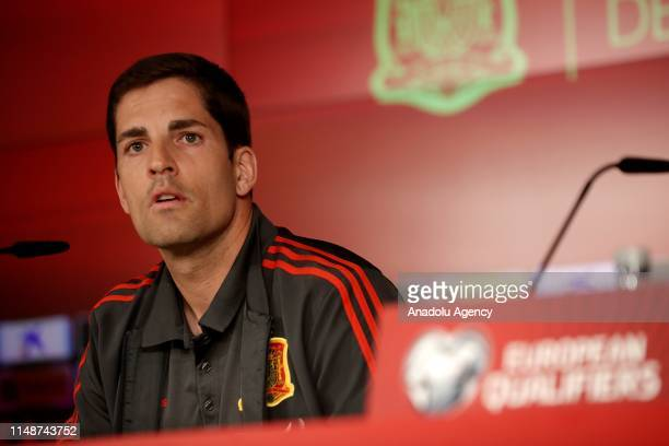 Assistant coach of Spain Robert Moreno holds a press conference ahead of the UEFA European Qualifiers Group F football match between Spain and Sweden...