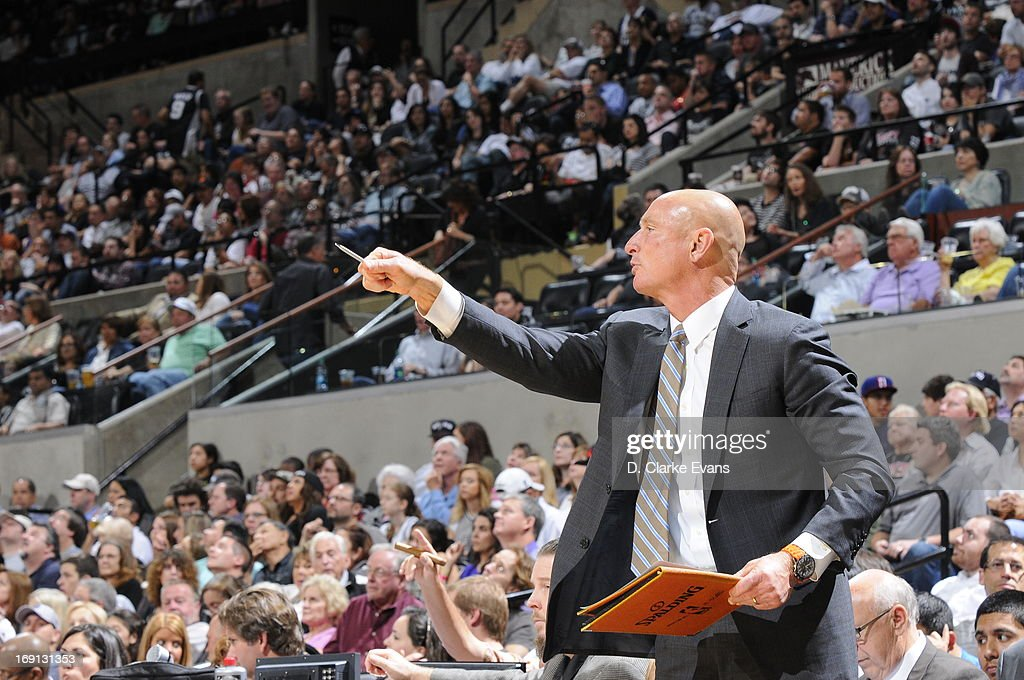 Assistant coach of the Atlanta Hawks, Bob Bender, directs his team during the game against the San Antonio Spurs on April 6, 2013 at the AT&T Center in San Antonio, Texas.