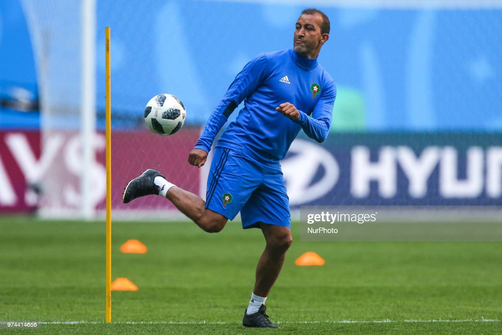 A assistant coach of the Morocco national football team takes part in a training session at Saint Petersburg Stadium in Saint Petersburg on June 14, 2018, ahead of a the 2018 FIFA World Cup match, between Morocco and Iran.