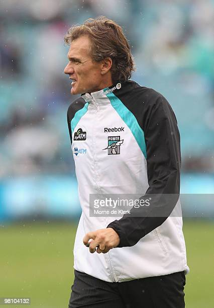 Assistant coach of the Power Dean Laidley looks on during the round one AFL match between the Port Adelaide Power and the North Melbourne Kangaroos...