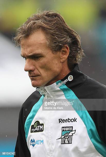 Assistant coach of the Power Dean Laidley walks off the ground during the round one AFL match between the Port Adelaide Power and the North Melbourne...