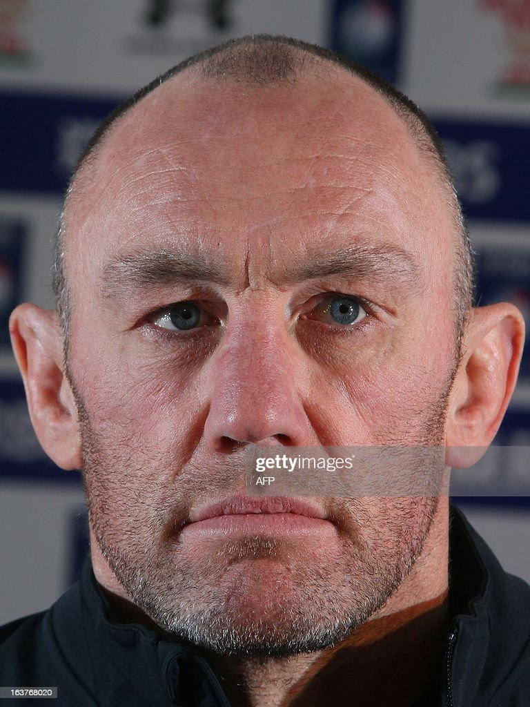Assistant coach of the Wales international rugby union team Robin McBryde speaks at a press conference at the Millennium Stadium in Cardiff on March 15, 2013, following a Wales training session a day ahead of their Six Nations rugby match against England. AFP PHOTO/ Geoff Caddick