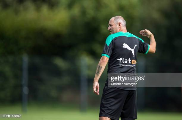 Assistant Coach Oliver Neuville is seen during a Training session at the Training Camp of Borussia Moenchengladbach at Klosterpforte on August 21,...