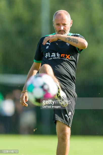 Assistant coach Oliver Neuville of Borussia Moenchengladbach controls the ball during day 3 of the pre-season summer training camp of Borussia...