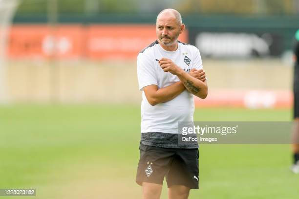 Assistant coach Oliver Neuville of Borussia Moenchengladbach looks on during the pre-season friendly match between Borussia Monechengladbach and SC...