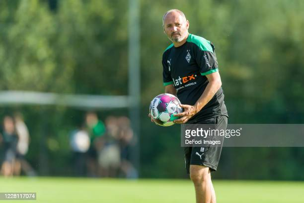 Assistant coach Oliver Neuville of Borussia Moenchengladbach looks on during day 3 of the pre-season summer training camp of Borussia...