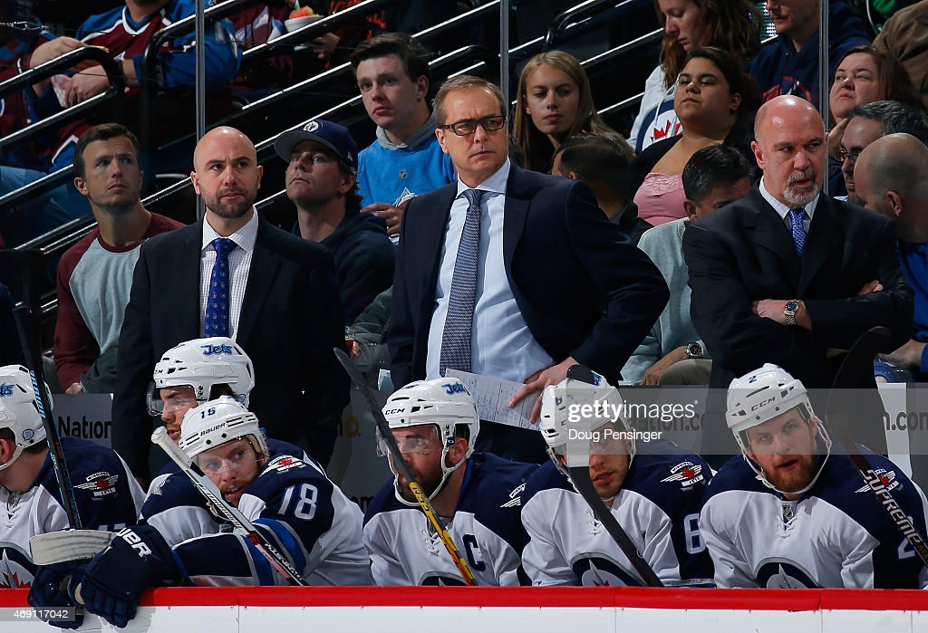 Assistant coach Pascal Vincent, head coach Paul Maurice and assistant coach Charlie Huddy and the Winnipeg Jets look from the bench against the Colorado Avalanche at Pepsi Center on April 9, 2015 in Denver, Colorado. The Avalanche defeated the Jets 1-0 in an overtime shootout.