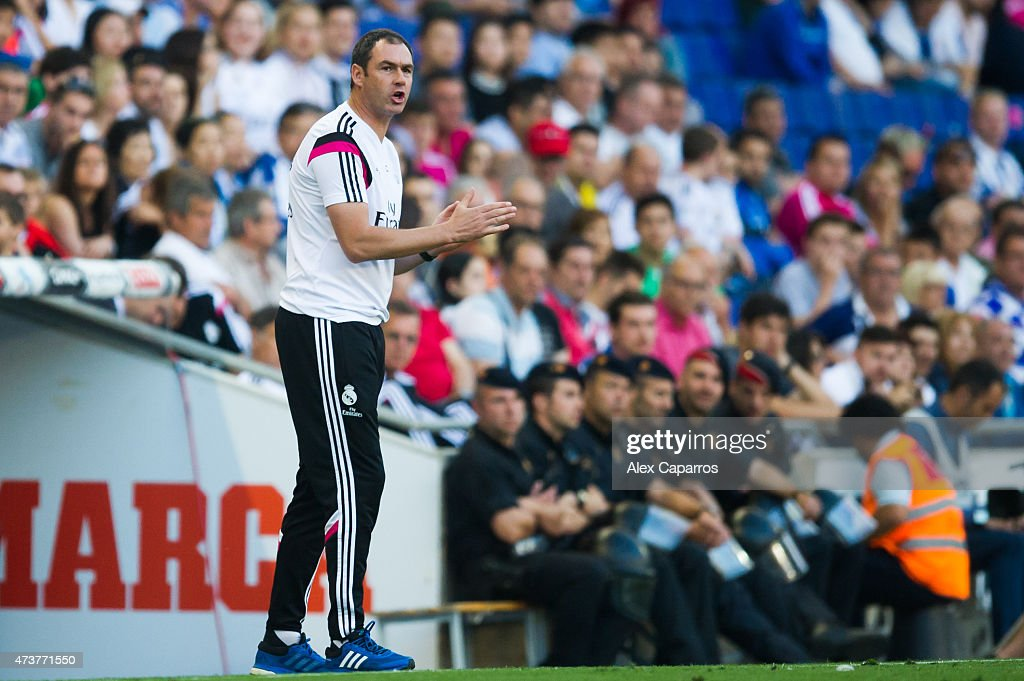 Assistant Coach Paul Clement of Real Madrid CF during the La Liga match between RCD Espanyol and Real Madrid CF at Cornella-El Prat Stadium on May 17, 2015 in Barcelona, Spain.
