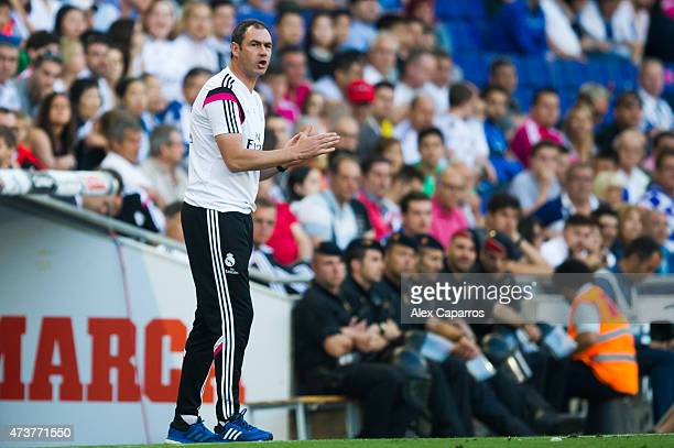 Assistant Coach Paul Clement of Real Madrid CF during the La Liga match between RCD Espanyol and Real Madrid CF at CornellaEl Prat Stadium on May 17...