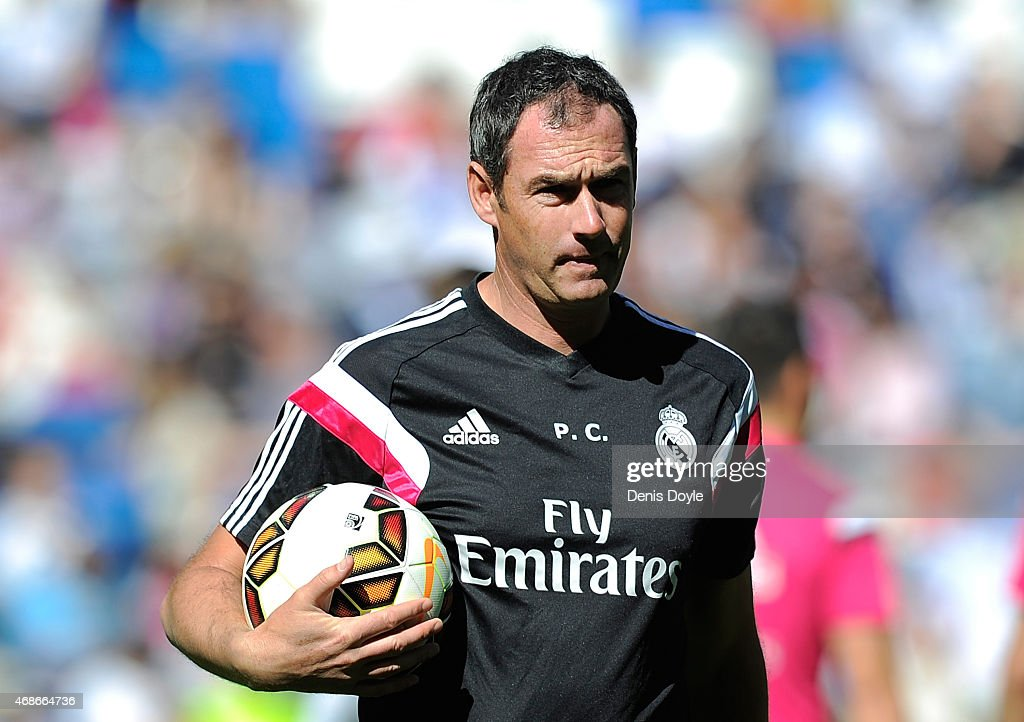 Assistant coach Paul Clement of Real Madrid looks on prior to the La Liga match between Real Madrid CF and Granada CF at Estadio Santiago Bernabeu on April 5, 2015 in Madrid, Spain.