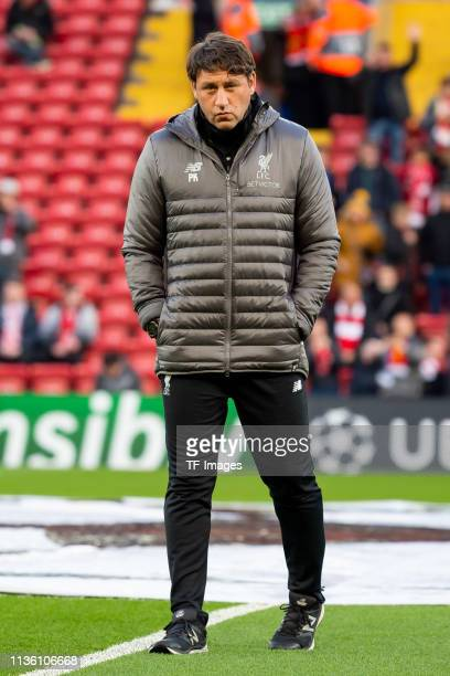 assistant coach Peter Krawietz of Liverpool looks on prior to the UEFA Champions League Quarter Final first leg match between Liverpool and Porto at...