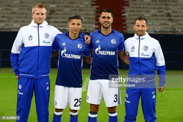 Assistant coach Peter Perchtold Amine Harit Pablo Insua of FC Schalke and head coach Domenico Tedesco of Schalke 04 pose during the team presentation...