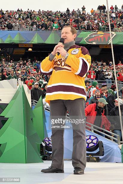Assistant coach Phil Housley of the Nashville Predators speaks onstage during the special second intermission salute to hockey in Minnesota at the...