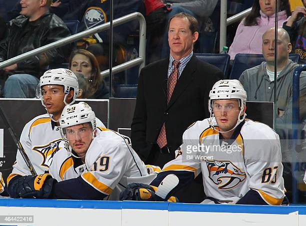 Assistant coach Phil Housley of the Nashville Predators watches the action against the Buffalo Sabres on February 22 2015 at the First Niagara Center...